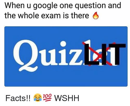 Facts, Google, and Memes: When u google one question and  the whole exam is there O  Quizl Facts!! 😂💯 WSHH