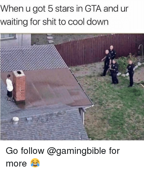 Memes, Shit, and Cool: When u got 5 stars in GTA and ur  waiting for shit to cool down Go follow @gamingbible for more 😂