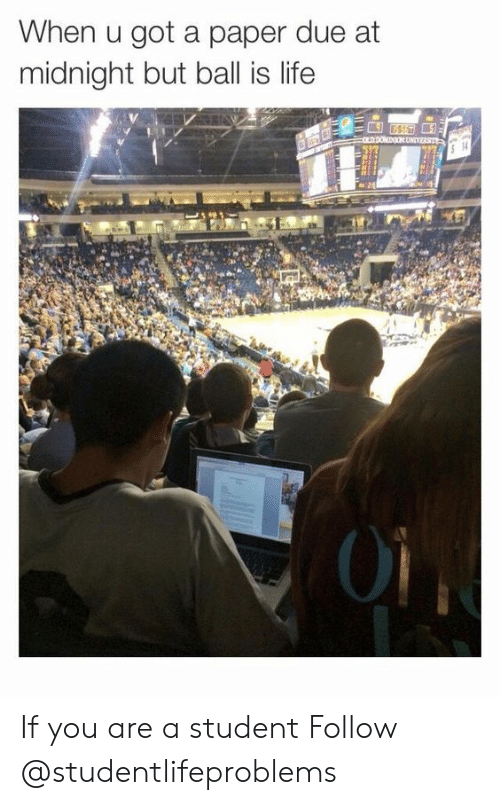 ball is life: When u got a paper due at  midnight but ball is life  5 14  01 If you are a student Follow @studentlifeproblems