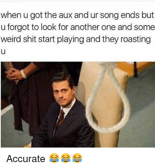 Another One, Funny, and Shit: when u got the aux and ur song ends but  u forgot to look for another one and some  weird shit start playing and they roasting Accurate 😂😂😂