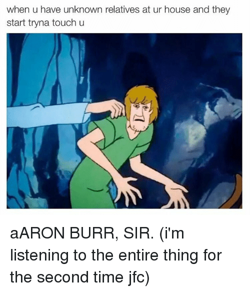 Memes, Aaron Burr, and 🤖: when u have unknown relatives at ur house and they  start tryna touch u aARON BURR, SIR. (i'm listening to the entire thing for the second time jfc)