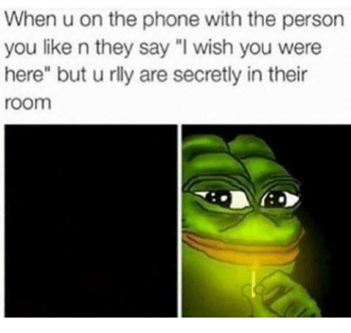 """wishing you were here: When u on the phone with the person  you like n they say """"I wish you were  here"""" but u rlly are secretly in their  room"""