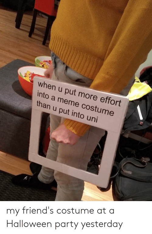 Meme Costume: when u put more effort  into a meme costume  than u put into uni my friend's costume at a Halloween party yesterday