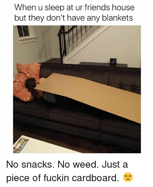 Friends, Funny, and Weed: When u sleep at ur friends house  but they don't have any blankets No snacks. No weed. Just a piece of fuckin cardboard. 😒