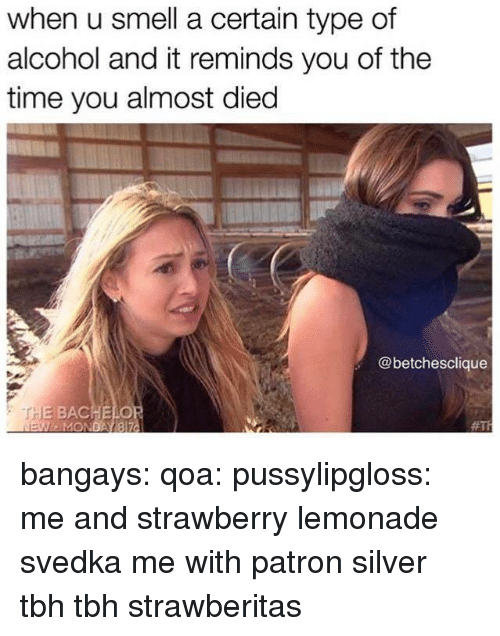 Smell, Target, and Tbh: when u smell a certain type of  alcohol and it reminds you of the  time you almost died  @betchesclique  HE BACHELO  MO  bangays:  qoa:  pussylipgloss:  me and strawberry lemonade svedka  me with patron silver tbh  tbh strawberitas
