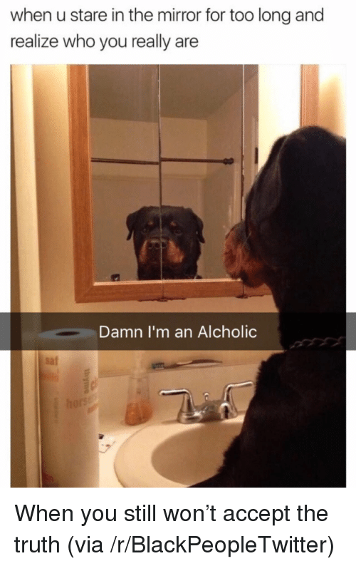 the mirror: when u stare in the mirror for too long and  realize who you really are  Damn I'm an Alcholic  saf <p>When you still won&rsquo;t accept the truth (via /r/BlackPeopleTwitter)</p>