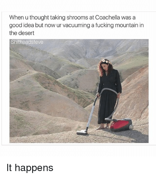 Dank Memes: When u thought taking shrooms at Coachella was a  good idea but now ur vacuuming a fucking mountain in  the desert  Shitheadsteve It happens