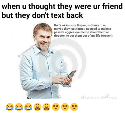 Memes, Texting, and Passive Aggressive: when u thought they were ur friend  but they don't text back  that's ok im sure they're just busy rn or  maybe they just forgot, no need to make a  passive aggressive meme about them or  threaten to cut them out of my life forever:) 😂😂😂😩😩😒😒😒