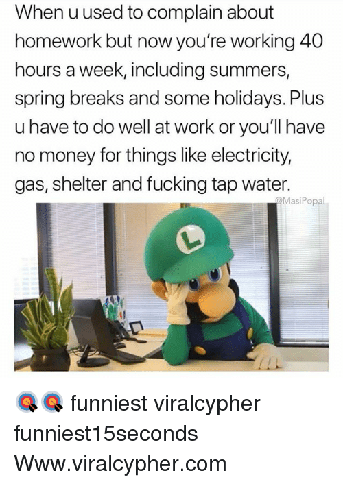 Fucking, Funny, and Money: When u used to complain about  homework but now you're working 40  hours a week, including summers,  spring breaks and some holidays. Plus  u have to do well at work or you'll have  no money for things like electricity,  gas, shelter and fucking tap water.  @MasiPopal 🎯🎯 funniest viralcypher funniest15seconds Www.viralcypher.com