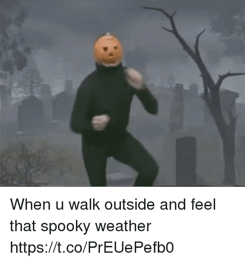 Funny, Weather, and Spooky: When u walk outside and feel that spooky weather https://t.co/PrEUePefb0