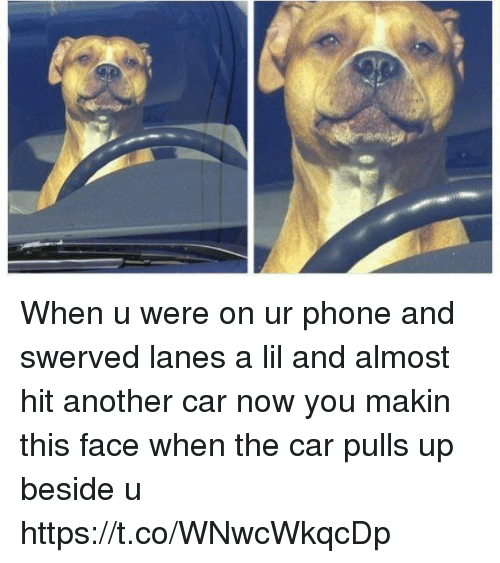 Phone, Girl Memes, and Another: When u were on ur phone and swerved lanes a lil and almost hit another car now you makin this face when the car pulls up beside u https://t.co/WNwcWkqcDp