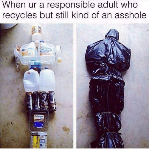 Dank, Asshole, and 🤖: When ur a responsible adult who  recycles but still kind of an asshole