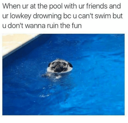 memes: When ur at the pool with ur friends and  ur low key drowning bc u can't swim but  u don't wanna ruin the fun