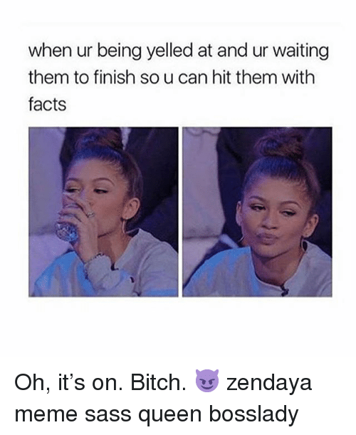 Zendaya: when ur being yelled at and ur waiting  them to finish so u can hit them witlh  facts Oh, it's on. Bitch. 😈 zendaya meme sass queen bosslady