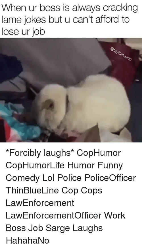 lame jokes: When ur boss is always cracking  lame jokes but u can't afford to  lose ur job *Forcibly laughs* CopHumor CopHumorLife Humor Funny Comedy Lol Police PoliceOfficer ThinBlueLine Cop Cops LawEnforcement LawEnforcementOfficer Work Boss Job Sarge Laughs HahahaNo
