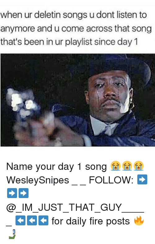 Fire, Memes, and Songs: when ur deletin songs udont listen to  anymore andu come across that song  that's been in ur playlist since day 1 Name your day 1 song 😭😭😭 WesleySnipes _ _ FOLLOW: ➡➡➡@_IM_JUST_THAT_GUY_____ ⬅⬅⬅ for daily fire posts 🔥🤳🏼
