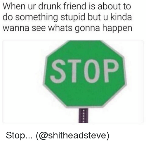 Drunk, Memes, and 🤖: When ur drunk friend is about to  do something stupid but u kinda  wanna see whats gonna happen  STOP Stop... (@shitheadsteve)