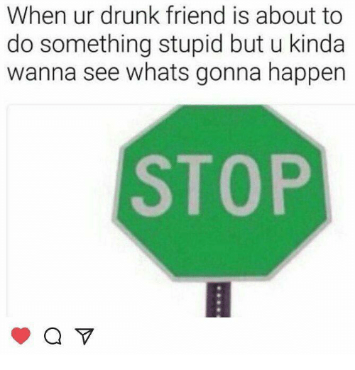 Drunk, Friend, and Whats: When ur drunk friend is about to  do something stupid but u kinda  wanna see whats gonna happen  STOP