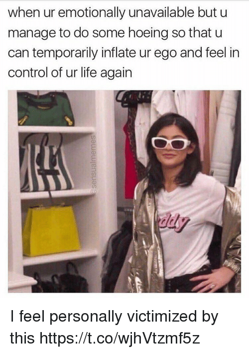 Life, Control, and Girl Memes: when ur emotionally unavailable but u  manage to do some hoeing so that u  can temporarily inflate ur ego and feel in  control of ur life again I feel personally victimized by this https://t.co/wjhVtzmf5z