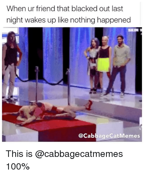 Anaconda, Blacked, and Dank Memes: When ur friend that blacked out last  night wakes up like nothing happened  @Cabbage CatMemes This is @cabbagecatmemes 100%