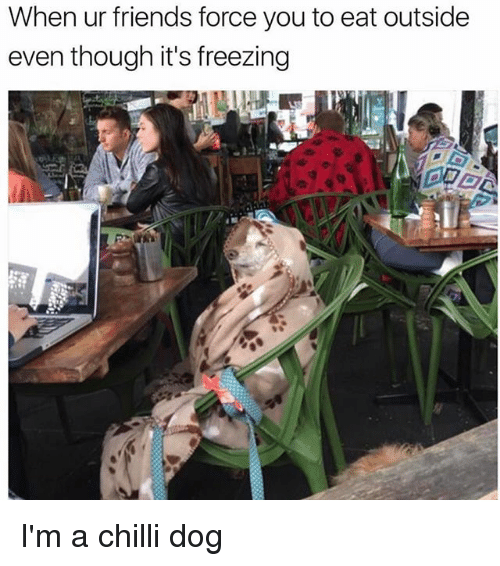 Chillys: When ur friends force you to eat outside  even though it's freezing I'm a chilli dog
