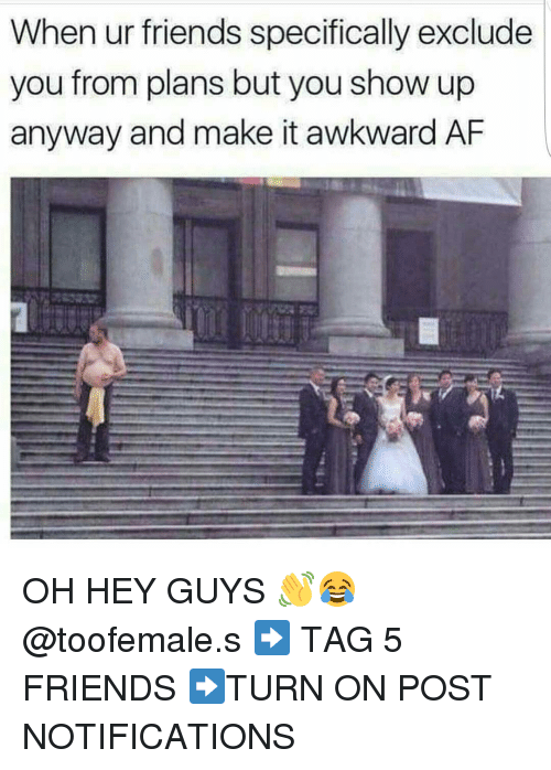 Af, Friends, and Memes: When ur friends specifically exclude  you from plans but you show up  anyway and make it awkward AF OH HEY GUYS 👋😂 @toofemale.s ➡ TAG 5 FRIENDS ➡TURN ON POST NOTIFICATIONS
