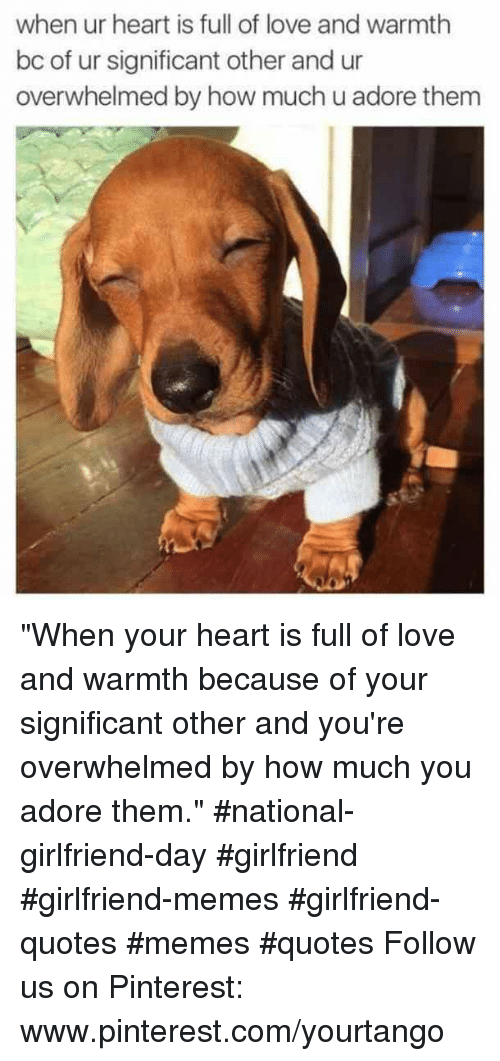 "Love, Memes, and Pinterest: when ur heart is full of love and warmth  bc of ur significant other and ur  overwhelmed by how much u adore thenm ""When your heart is full of love and warmth because of your significant other and you're overwhelmed by how much you adore them."" #national-girlfriend-day #girlfriend #girlfriend-memes #girlfriend-quotes #memes #quotes Follow us on Pinterest: www.pinterest.com/yourtango"
