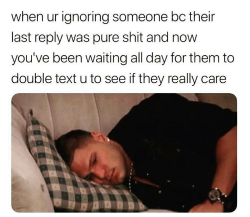 Double Text: when ur ignoring someone bc their  last reply was pure shit and now  you've been waiting all day for them to  double text u to see if they really care