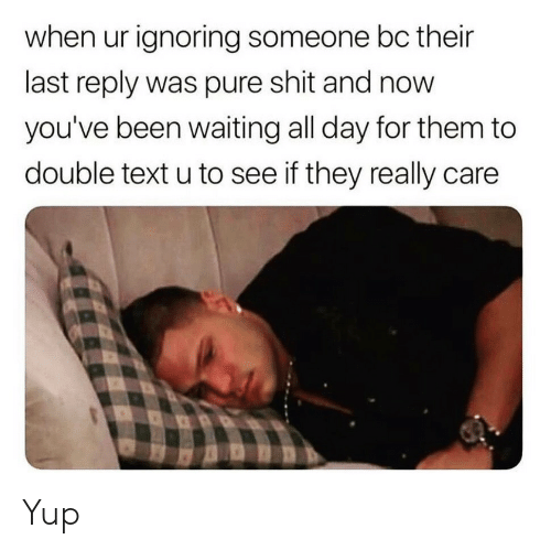 Double Text: when ur ignoring someone bc their  last reply was pure shit and now  you've been waiting all day for them to  double text u to see if they really care Yup
