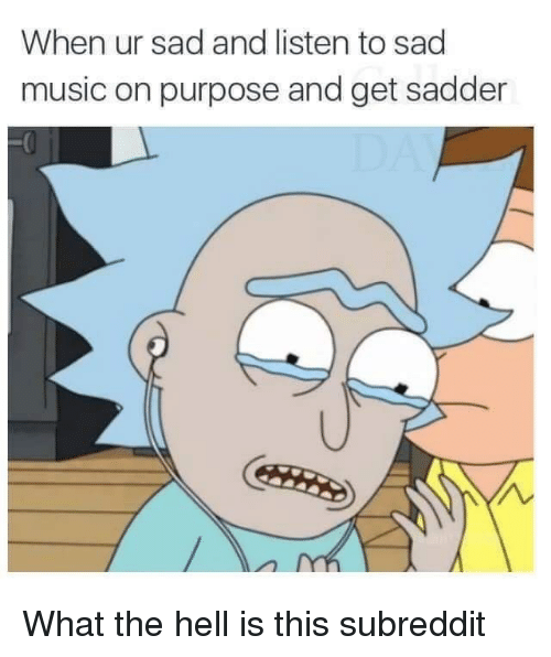 Music, Dank Memes, and Sad: When ur sad and listen to sad  music on purpose and get sadder What the hell is this subreddit