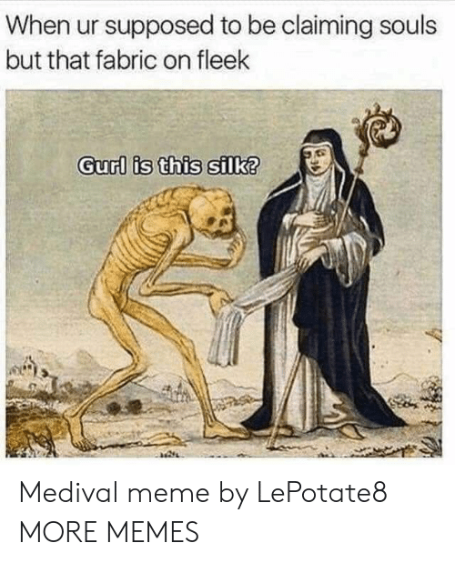 silk: When ur supposed to be claiming souls  but that fabric on fleek  Gurl is this silk? Medival meme by LePotate8 MORE MEMES