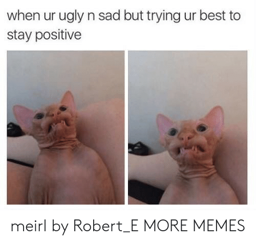 stay positive: when ur ugly n sad but trying ur best to  stay positive meirl by Robert_E MORE MEMES
