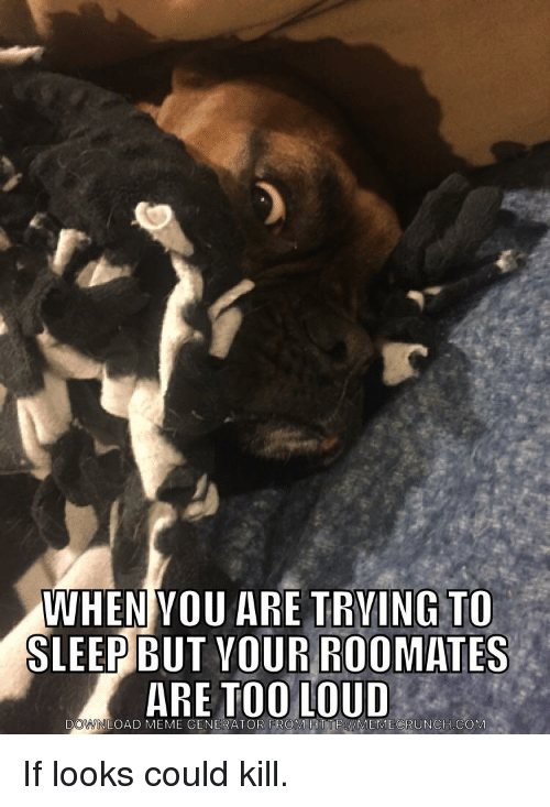 If Looks Could Kill: WHEN VOU ARE TRVING TO  SLEEP BUT VOUR ROOMATES  ARE TOO LOUD  DOWWNLOAD MEME GENERAT  DOWNLOAD MEME GENERATOR  FROM HTTP WMEMECRUNCH COM