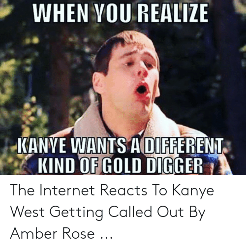 Amber Meme: WHEN VOU REALIZE  KANVE WANTS ADIFFERENT  KIND OF GOLD DIGGER The Internet Reacts To Kanye West Getting Called Out By Amber Rose ...