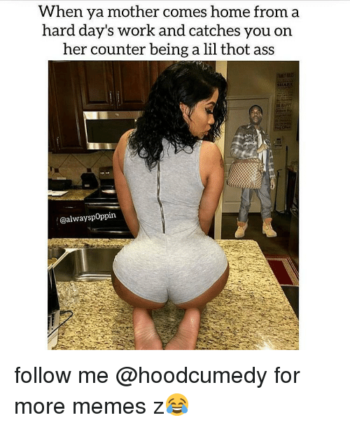 Ass, Meme, and Memes: When ya mother comes home from a  hard day's work and catches you on  her counter being a lil thot ass  @alwayspoppin. follow me @hoodcumedy for more memes z😂