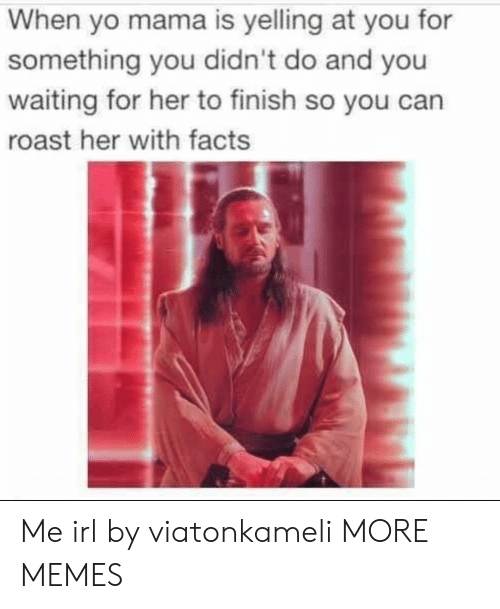 yo mama: When yo mama is yelling at you for  something you didn't do and you  waiting for her to finish so you can  roast her with facts Me irl by viatonkameli MORE MEMES