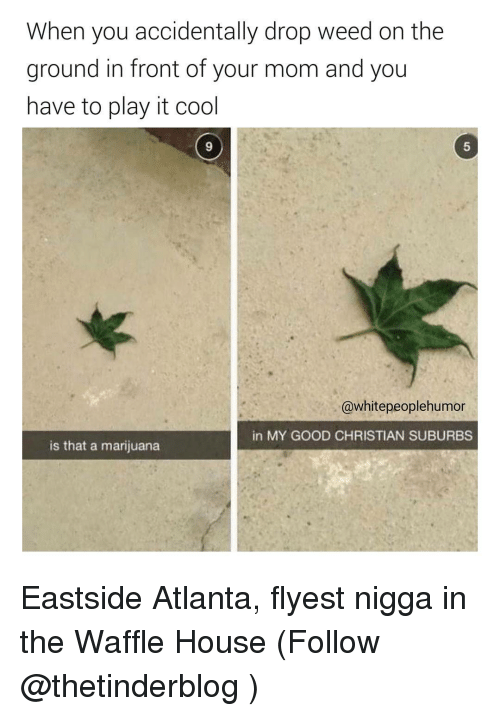Waffle House, Dank Memes, and Atlanta: When you accidentally drop weed on the  ground in front of your mom and you  have to play it cool  @white peoplehumor  in MY GOOD CHRISTIAN SUBURBS  is that a marijuana Eastside Atlanta, flyest nigga in the Waffle House (Follow @thetinderblog )