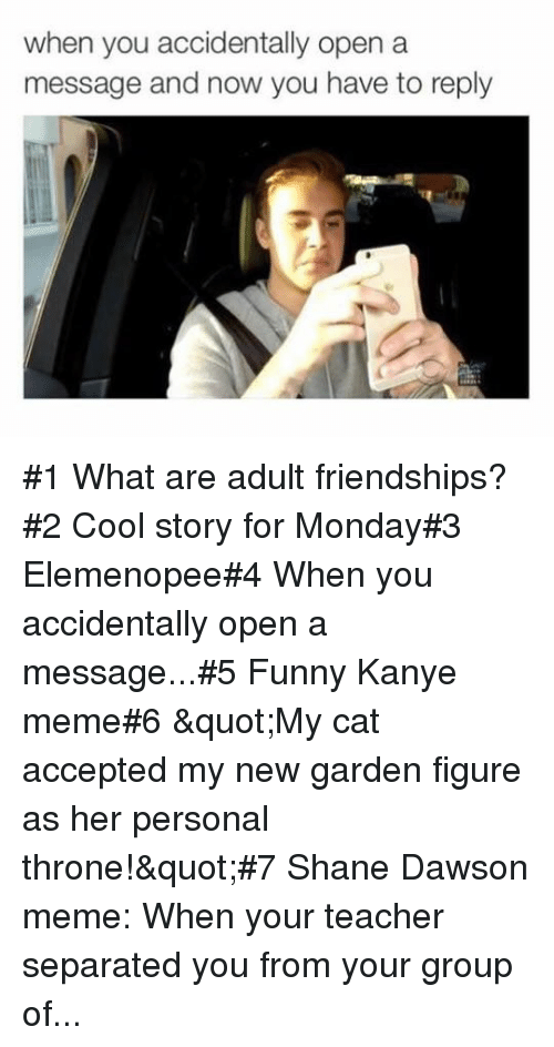 """dawson: when you accidentally open a  message and now you have to reply #1 What are adult friendships?#2 Cool story for Monday#3 Elemenopee#4 When you accidentally open a message...#5 Funny Kanye meme#6 """"My cat accepted my new garden figure as her personal throne!""""#7Shane Dawson meme: When your teacher separated you from your group of..."""