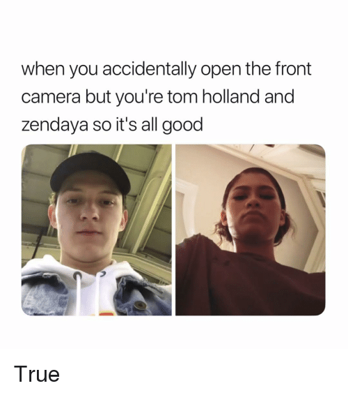 Zendaya: when you accidentally open the front  camera but you're tom holland and  zendaya so it's all good True