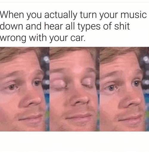 Music, Shit, and Car: When you actually turn your music  down and hear all types of shit  wrong with your car.