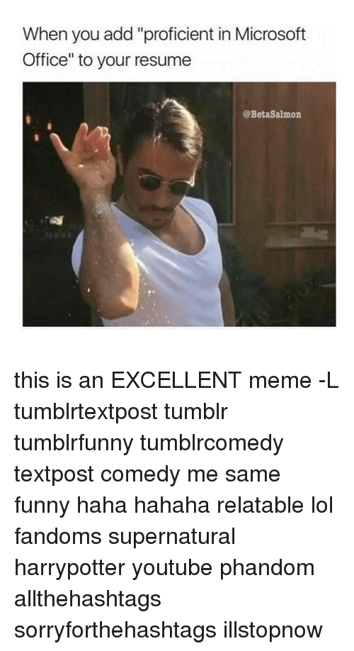 Memes, Microsoft, And Microsoft Office: When You Add   Proficient In Microsoft Office
