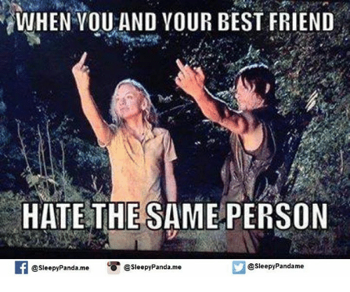 Best Friend, Friends, and Memes: WHEN YOU AND YOUR BEST FRIEND  HATE THE  SAME PERSON  f @sleepy Panda.me  u @sleepy Panda.me  O @sleepy Pandame