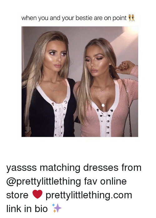 Girl, Match, and Fav: when you and your bestie are on point yassss matching dresses from @prettylittlething fav online store ❤️ prettylittlething.com link in bio ✨