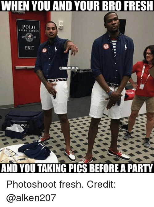 polo ralph lauren: WHEN YOU AND YOUR BRO FRESH  POLO  RALPH LAUREN  EXIT  @NBAMEMES  AND YOU TAKING PICS BEFOREAPARTY Photoshoot fresh. Credit: @alken207