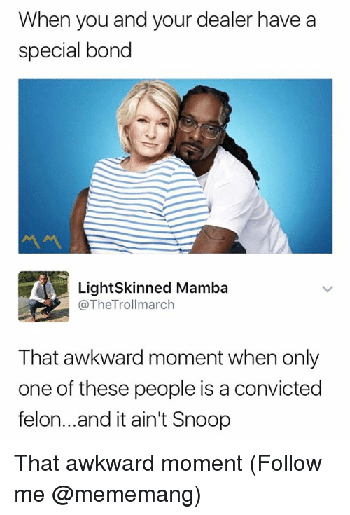 snoopes: When you and your dealer have a  special bond  LightSkinned Mamba  @TheTrollmarch  That awkward moment when only  one of these people is a convicted  felon...and it ain't Snoop That awkward moment (Follow me @mememang)