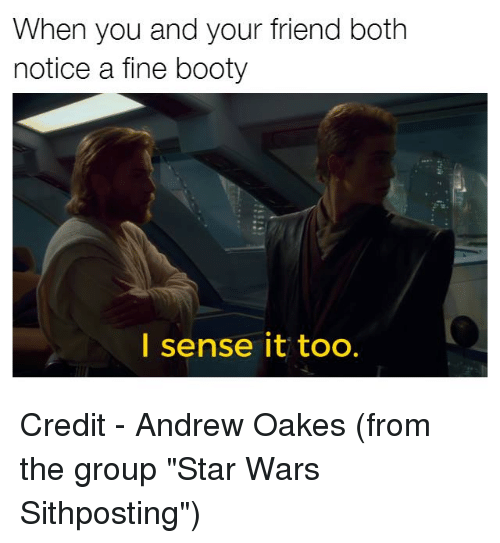 "Noticably: When you and your friend both  notice a fine booty  I sense it too. Credit - Andrew Oakes‎ (from the group ""Star Wars Sithposting"")"