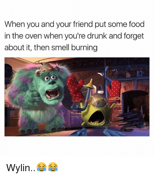 Drunk, Food, and Smell: When you and your friend put some food  in the oven when you're drunk and forget  about it, then smell burning Wylin..😂😂