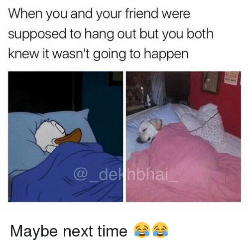 Dekh Bhai: When you and your friend were  supposed to hang out but you both  knew it wasn't going to happern  @_ hai.- Maybe next time 😂😂