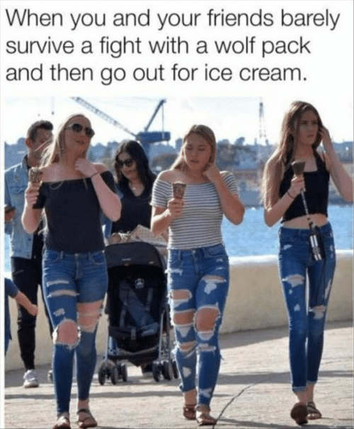 wolf pack: When you and your friends barely  survive a fight with a wolf pack  and then go out for ice cream.