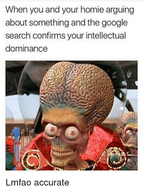 Funny, Google, and Homie: When you and your homie arguing  about something and the google  search confirms your intellectual  dominance Lmfao accurate